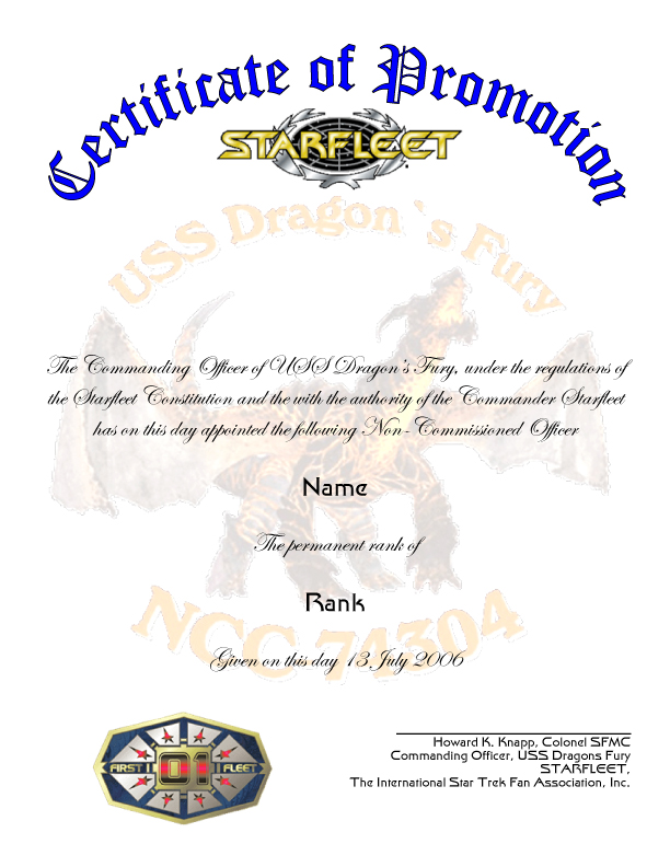 officer promotion certificate template - ecerts created for starfleet